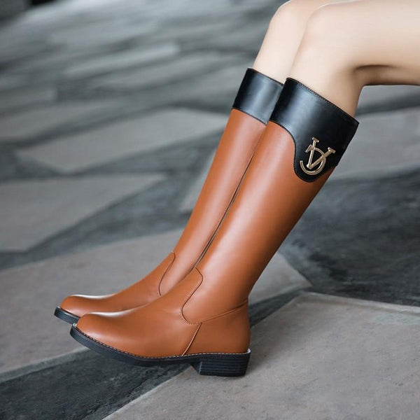 Patchwork Metal Decorate Low Chunky Heels Long Boots