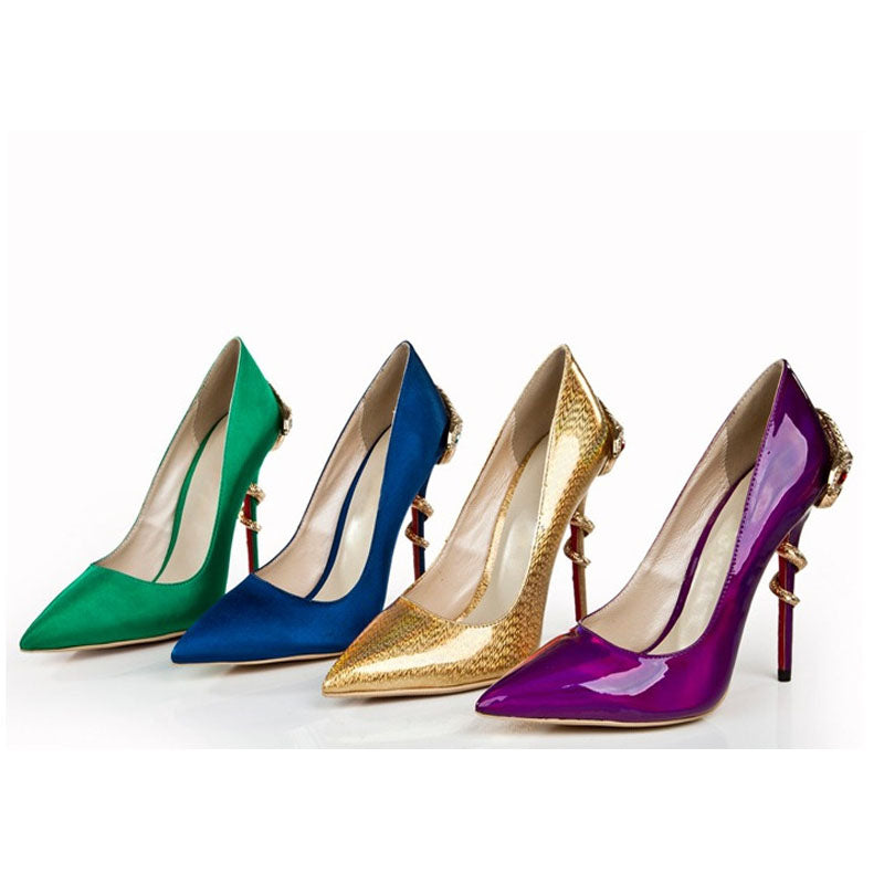 Bright Color Pointed Toe Embellished Ankle Pumps
