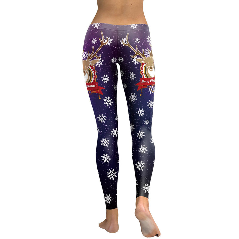 Snow and Reindeer Print Women Mid Waist Skinny Christmas Party Legging