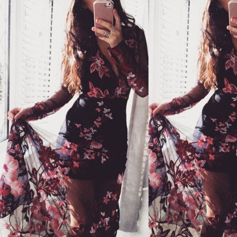 Flower Print Deep V-neck Mesh Transparent High Waist Women Long Dress