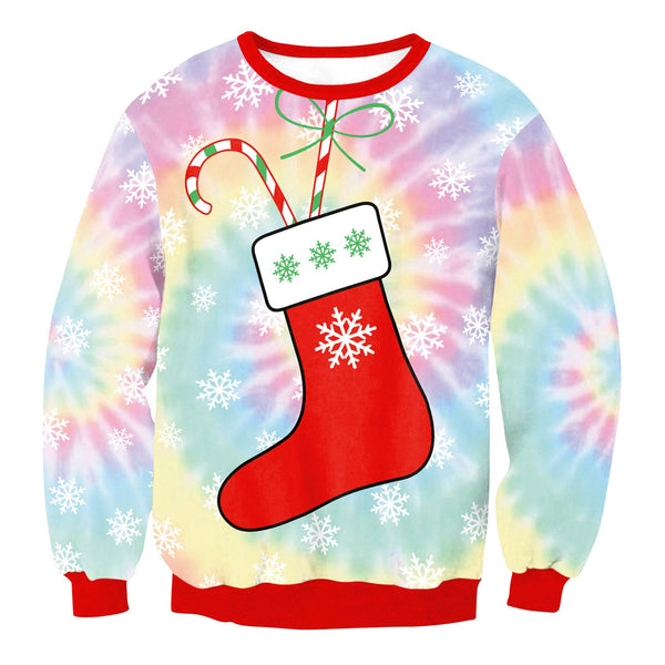 Gift Socks Bright Women Patchwork Christmas Party Sweatshirt