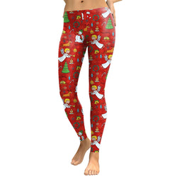 Colorful Christmas Print Women Skinny Red Legging
