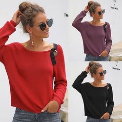 Off-the-Shoulder Cropped Women Sweater