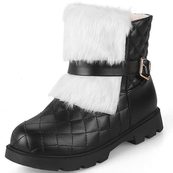 Round Toe Plaid Faux Fur Flat Short Snow Boots