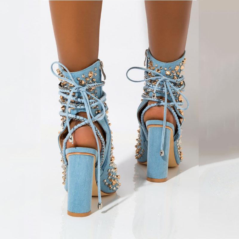 Denim Blue Open Toe Rivet Strap Chunky Heel Sandals
