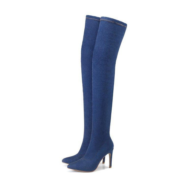 Denim Pointed Toe High Stiletto Heel Over-knee Long Fashion Boots
