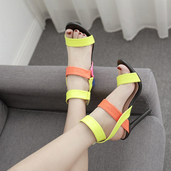 Summer Multicolor High Heel Open Toe Sandals