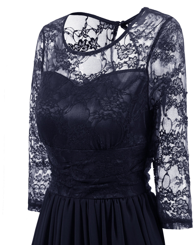 Retro Style Half Sleeves Women Solid Color Lace Chiffon Knee-length Dress