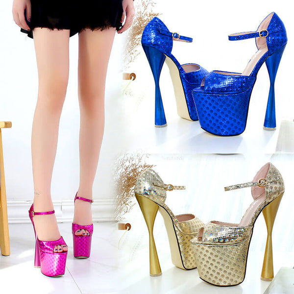 Club Peep Toe PU Platform Buckle High Heels