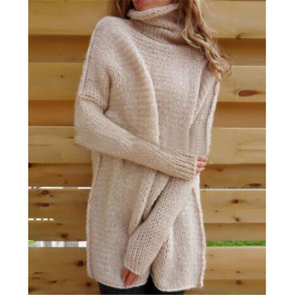 Loose Turtleneck Solid Color Women Pullover Sweater