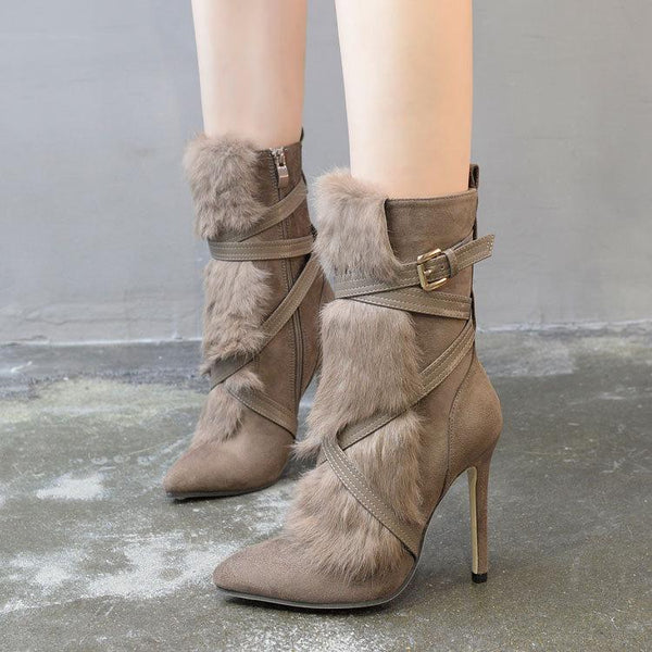 Rabbit Fur Pointed Toe Cross Straps High Stiletto Heel Half Boots