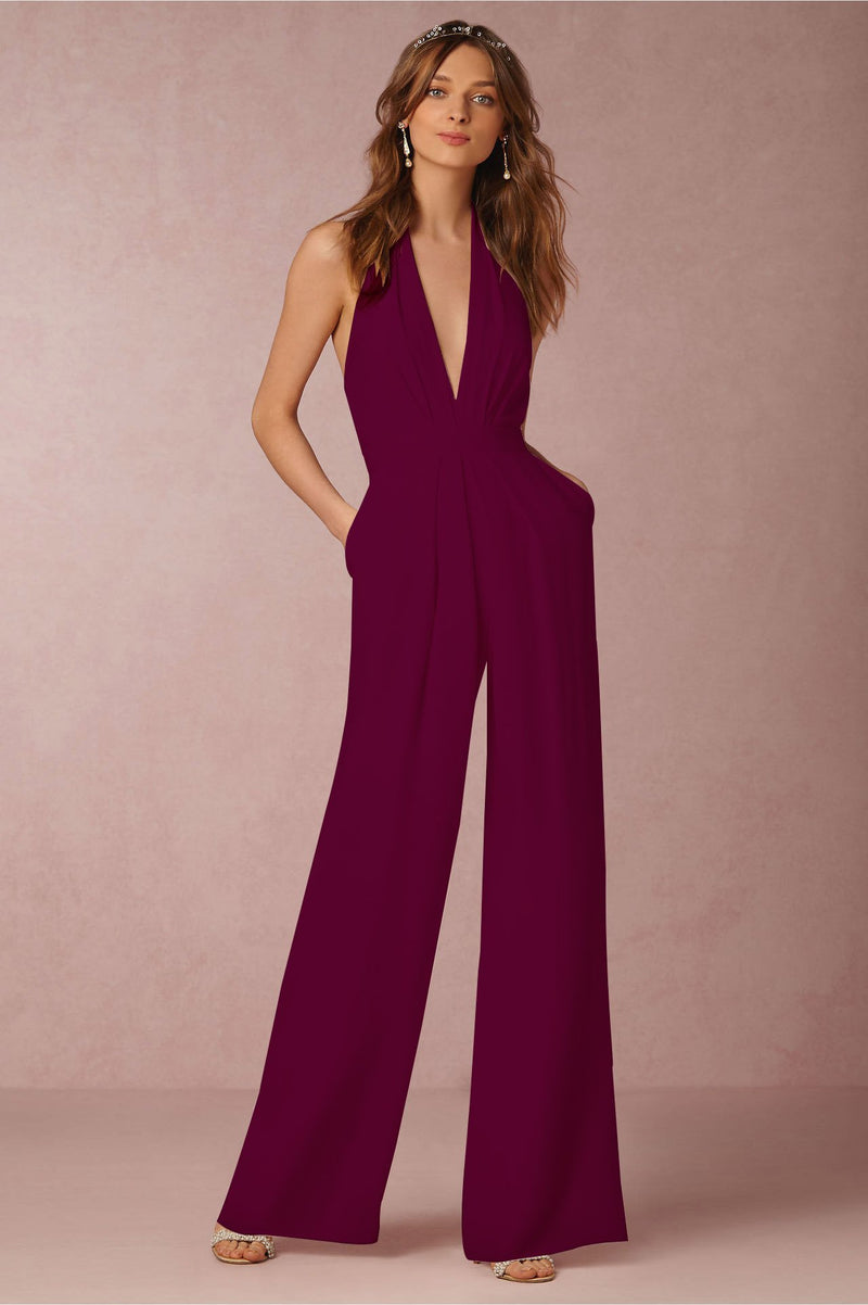 Halter Backless Pure Color Wide-Legs Long Jumpsuit