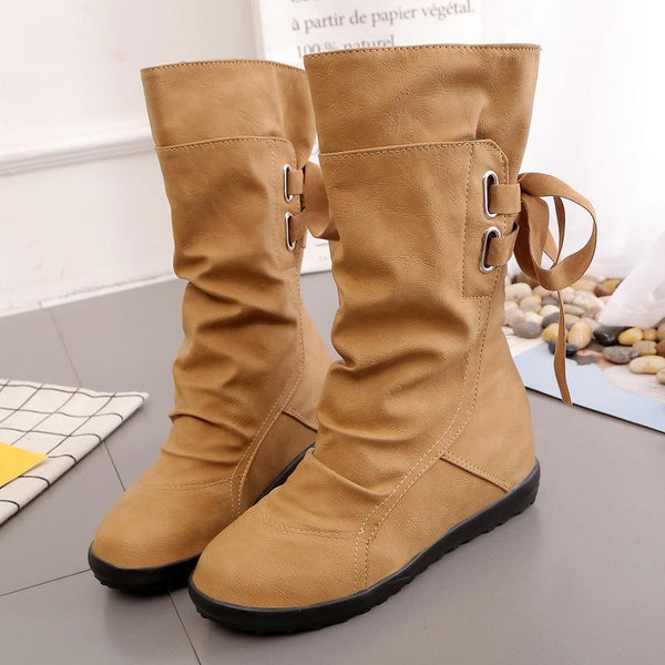 Round Toe Back Lace Up Flat Half Boots
