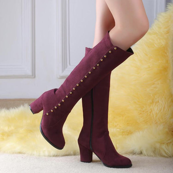 Side Zipper Buttons Decoration Middle Heel Long Boots with Plus Size