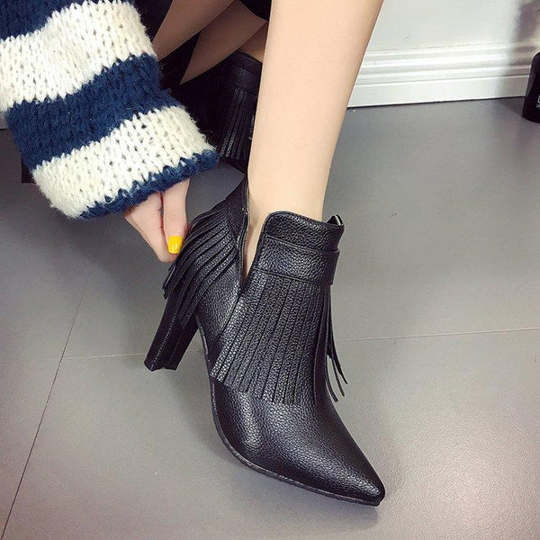 Tassels Pointed Toe Side Zipper High Chunky Heel Short Boots