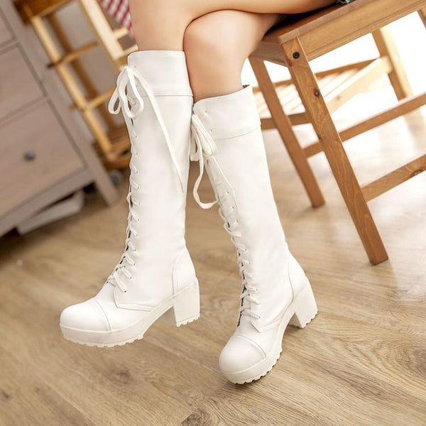 Lace Up Solid Color Low Chunky Heel Long Boots