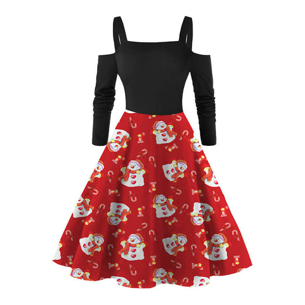 Christmas Retro Cold Shoulder Print Dress
