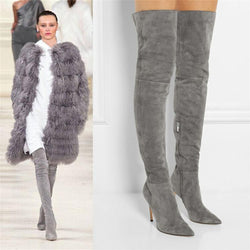 Frosted Fleece Sexy Pointed Head Over Knee Boots