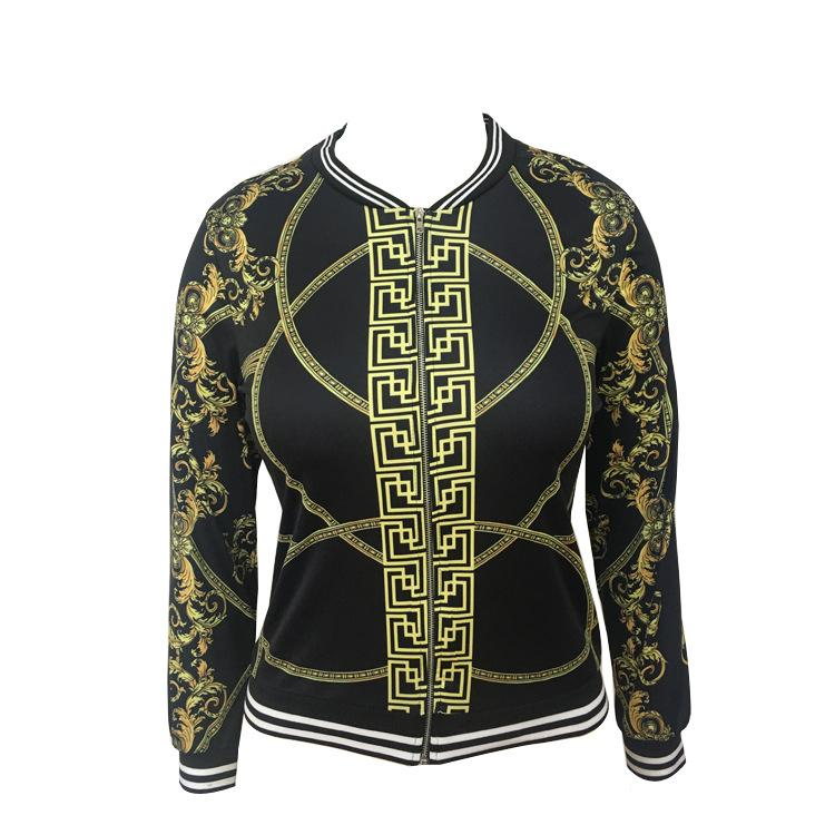 Stand Collar Women Print Cropped Short Jacket Coat