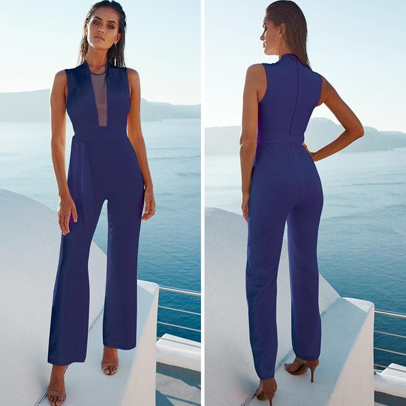 Transparent V-neck Straps Long Wide-leg Jumpsuits