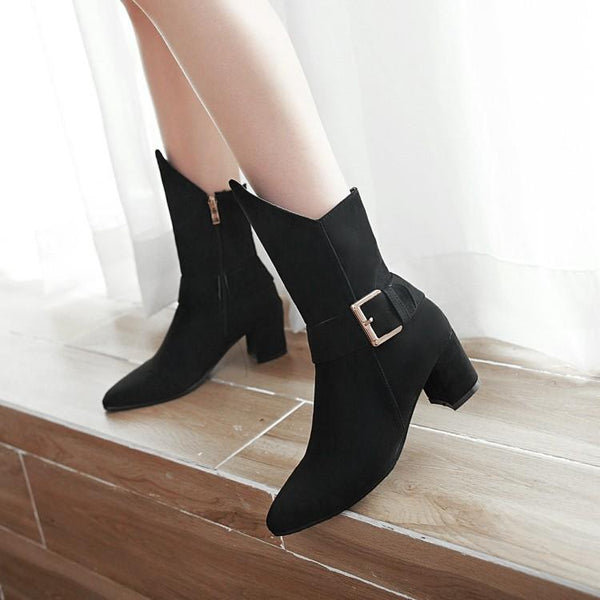Solid Color Pointed Toe Hasp Low Chunky Heel Half Irregular Boots