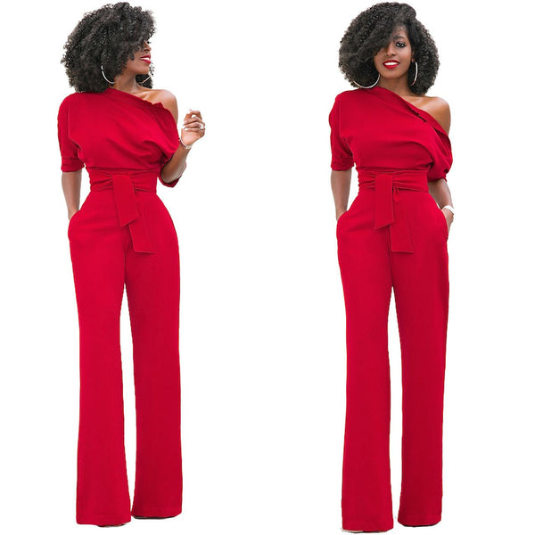 One Shoulder Short Sleeves High Waist Candy Color Long Wide Leg Jumpsuits
