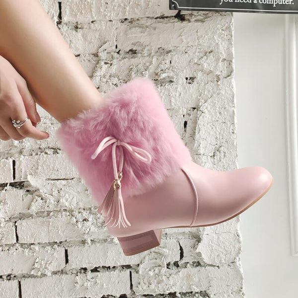Fur Fringe Leather Chunky Heel Ankle Boots