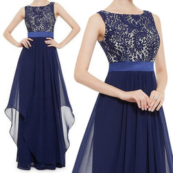 Beautiful Chiffon Stitching Lace Sleeveless Party Long Dress