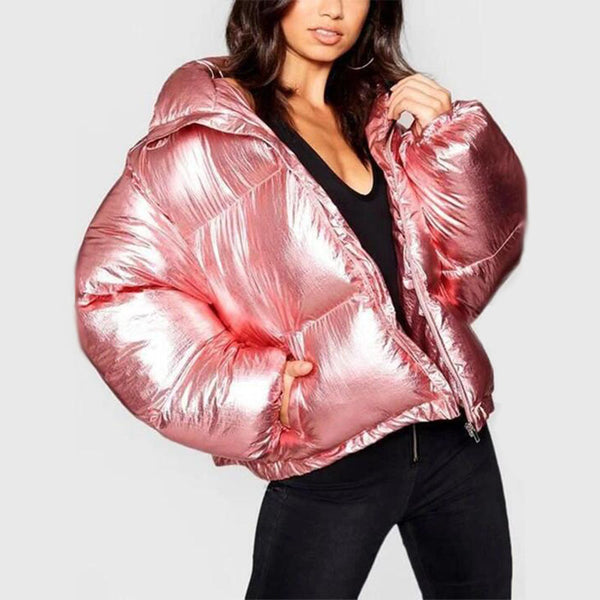 Chic Metallic Puffer Jacket
