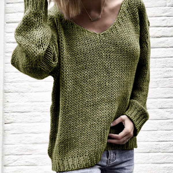 V-Neck Knit Loose Pullover Chunky Sweater