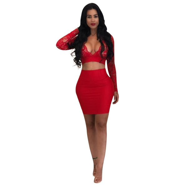 Lace Deep V-neck Long Sleeves Crop Top wih Short Bodycon Skirt Two Pieces Dress Set