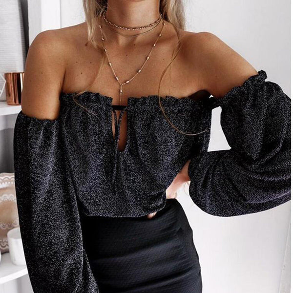 Strapless Long Sleeves Pure Color T-shirt