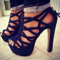 Suede Cut-Outs Chunky Heel Sandals - MeetYoursFashion