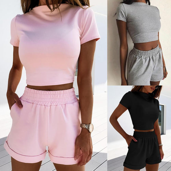 Casual Short Sleeve High Waist Two Pieces Set