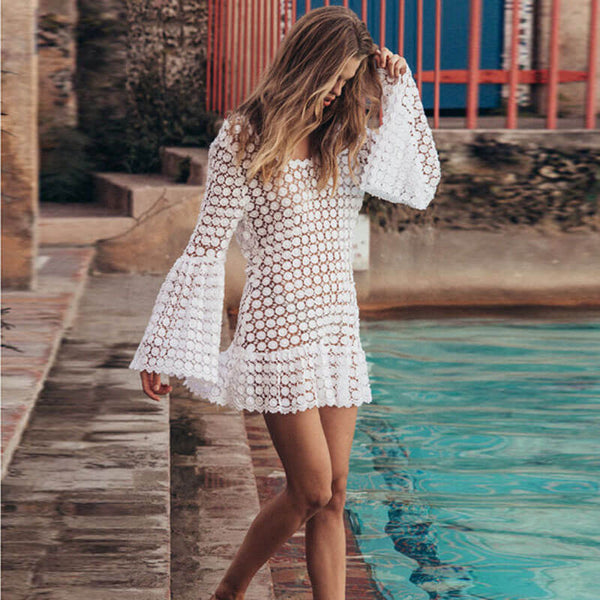 Lace See Through Bell Sleeve Short Dress
