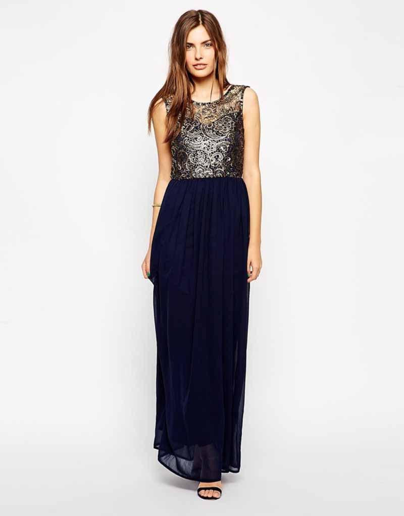 Sexy Embroidered Sleeveless Chiffon Backless Long Dress