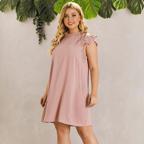 Short Sleeve Solid Large Dress