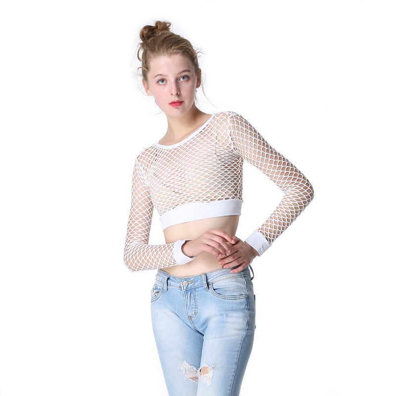 Lace Hollow Out Long Sleeves Blouse Bikini Cover