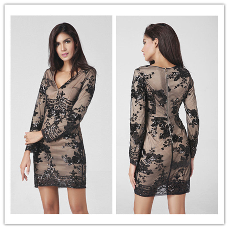 Fashion Long-Sleeved V-Neck Sequined Dress