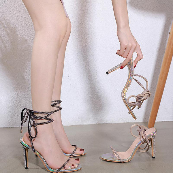Water drill thin strap High Heel Sandals