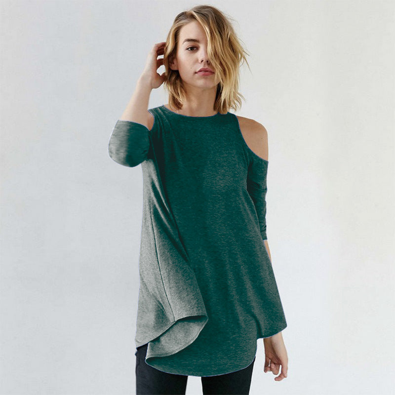 Knitting Off-Shoulder 3/4 Sleeve Long T-Shirt