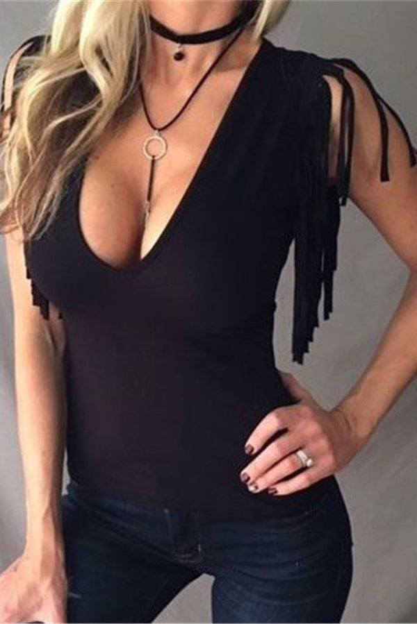 Tassels Deep V-neck Solid Color Slim Tank Top