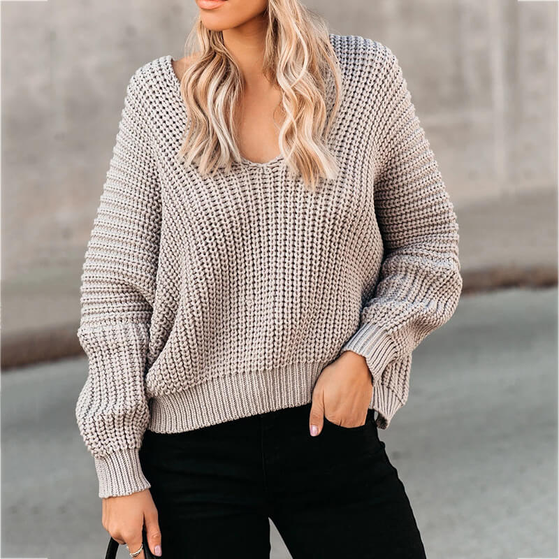 Chunky V Neck Lantern Sleeve Crochet Sweater