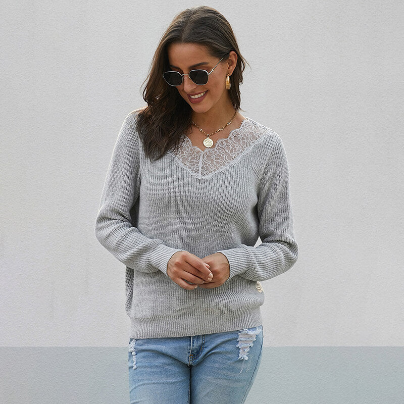 V-neck Ribbed Lace Pullover Sweater