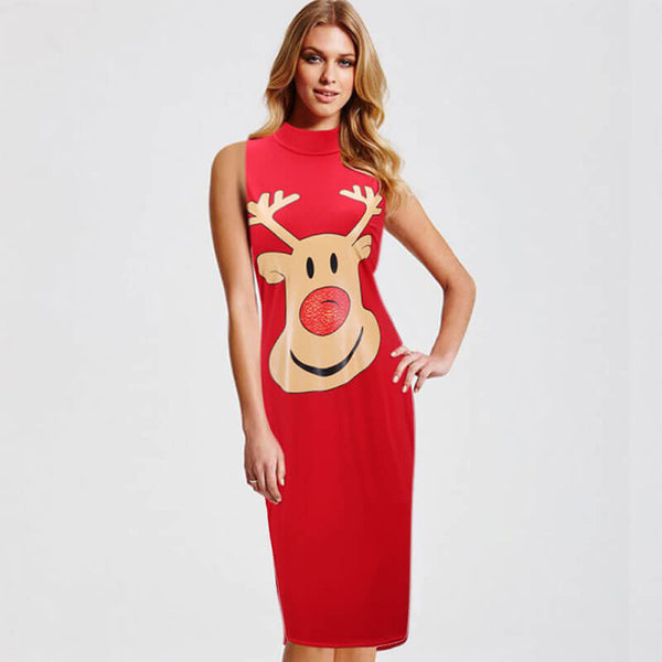 Christmas Sleeveless Cartoon Print Midi Dress