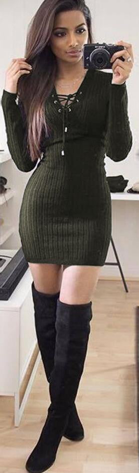 Lace Up V Neck Ribbed Long Sleeve Short Bodycon Dress