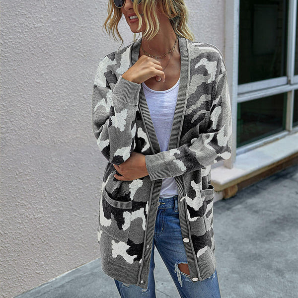Camo Pattern Knitted Cardigan