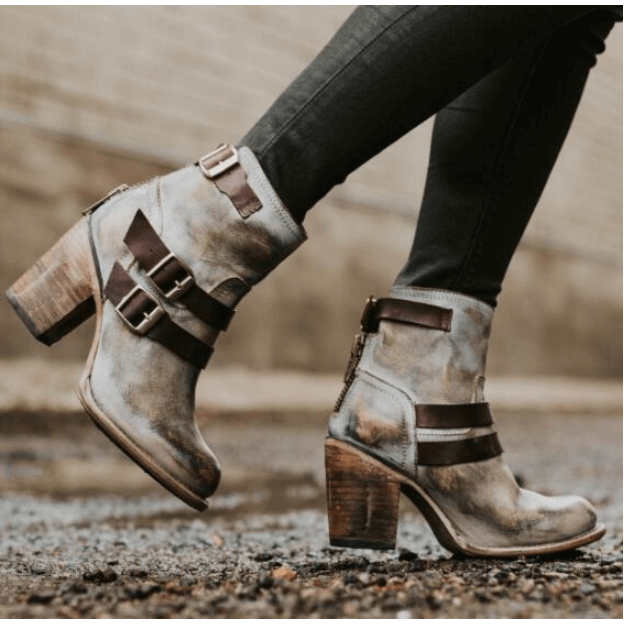 Leather High Heel Buckle Ankle Boots