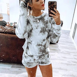 Casual Tie Dye Loose High Waist Long Sleeve Two Pieces Set