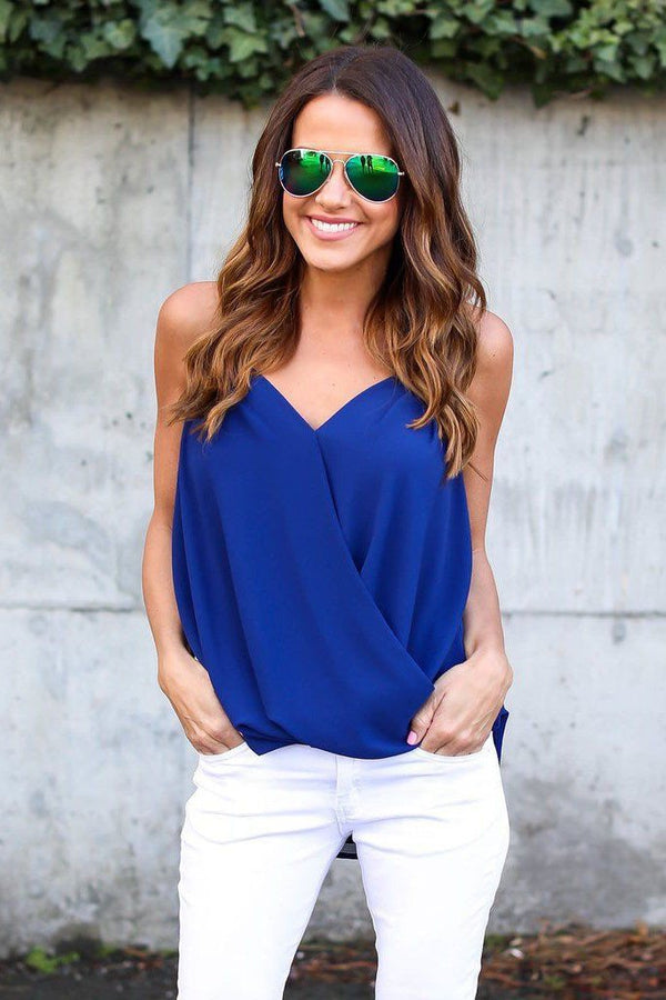 Pure Color Spaghetti Straps Sleeveless Blouse